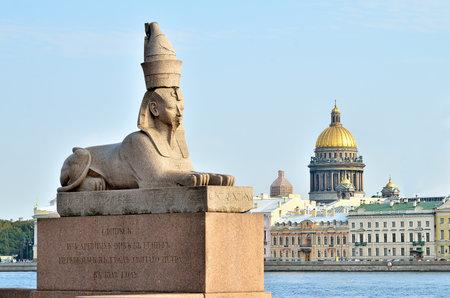 neva: Sphinx on Universitetskaya embankment of Neva river in Saint Petersburg, Russia Stock Photo