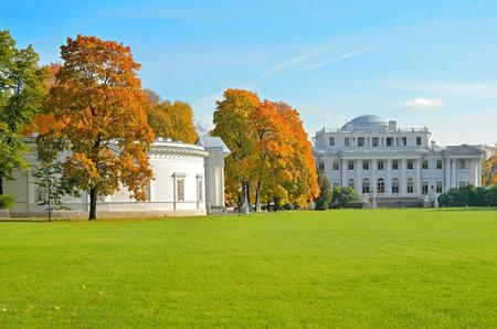 Beautiful park with Yelagin palace on Yelagin Island in St  Petersburg, Russia