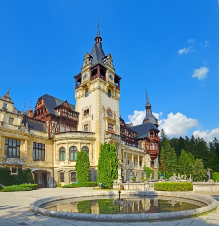 SINAIA, ROMANIA AUGUST 1: Peles castle on August 01, 2012 in Sinaia, Romania. Was built between 1873 and 1914. The castle has 170 rooms, out of which only about 30 rooms can be visited by tourists.