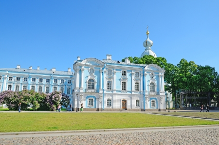 PETERSBURG, RUSSIA-JUNE 11 Smolny Cathedral on June 11, 2012 in Petersburg, Rus  Built in 1748-1764, and over 50,000 wooden piles were needed to secure the foundation in the marshy soil of Petersburg