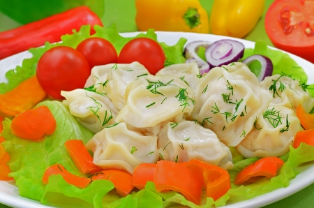 Dumplings with meat on a plate with colorful fresh vegetables photo