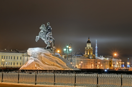 Monument of Russian emperor Peter I, in Saint Petersburg, Russia, night view