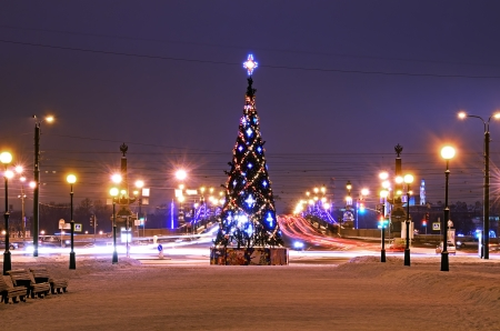 PETERSBURG, RUS-JANUARY 5:Christmas tree with illumination at Millionnaya Street on January 5, 2013 in Petersburg, Russia. 66 christmas trees were placed at Christmas on  main squares and streets of the city