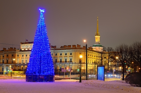 PETERSBURG, RUSSIA - JANUARY 5: Christmas tree with illumination near the Mikhailovsky Castle on January 5, 2013 in Petersburg, Russia. 66 christmas trees were placed in Petersburg at Christmas on the main squares and streets of the city.
