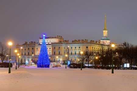 PETERSBURG, RUSSIA-JANUARY 5 Christmas tree with illumination near Mikhailovsky Castle on Jan 5, 2013 in Petersburg, Russia