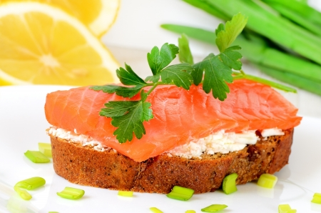 Sandwich with salmon and parsley on a white plate