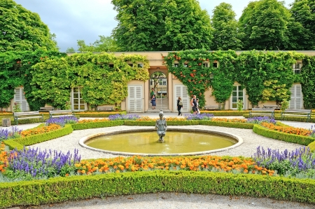 SALZBURG, AUSTRIA - JULY 30  Mirabell gardens on July 30, 2013 in Salzburg, Austria  Gardens were opened to public in 1854  Today they are a horticultural masterpiece and popular tourist destination  Editorial