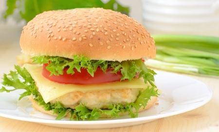 chicken burger: Burger fast food on white plate Stock Photo