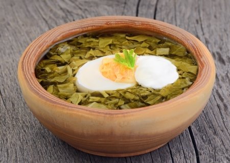 sour grass: Sorrel soup with egg and sour cream in brown bowl on the wooden table