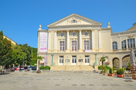 BADEN BEI WIEN, AUSTRIA - JULY 29: The Baden City Theater on July 29, 2013 in Baden bei Wien, Austria. The theater has seats 700 and specialises in operetta and musical comedy.