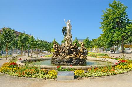 undine: BADEN BEI WIEN, AUSTRIA - JULY 29  Undine-Brunnen fountain in Kurpark on July 29, 2013 in Baden bei Wien, Austria  Opened in 1903  Editorial