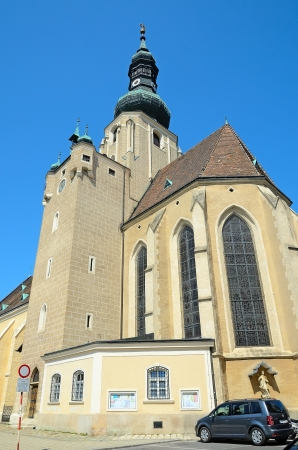 mention: BADEN BEI WIEN, AUSTRIA-JULY 29  Church of St  Stephan on July 29, 2013 in Baden bei Wien, Austria  The first mention of the church in 1220