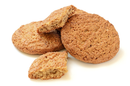 Oatmeal cookies isolated on a white  photo