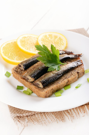 Bread with sprats on a white plate photo