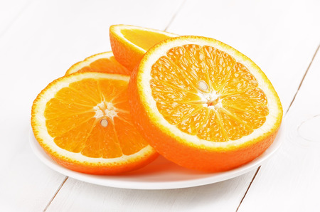 sliced orange: Orange slices on white plate, close up view