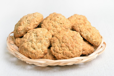 close up view: Oatmeal cookies on white background, close up view