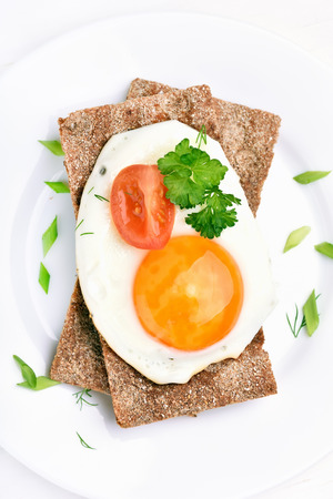 crispbread: Fried egg, parsley and tomato slice on crispbread, top view