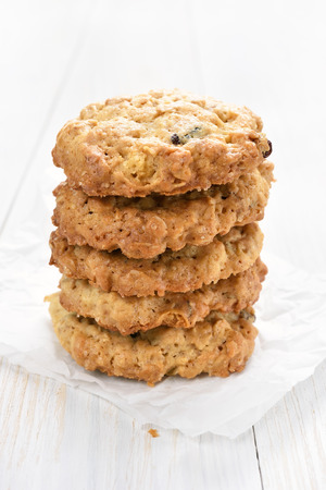 close up view: Healthy cookies from oats, close up view
