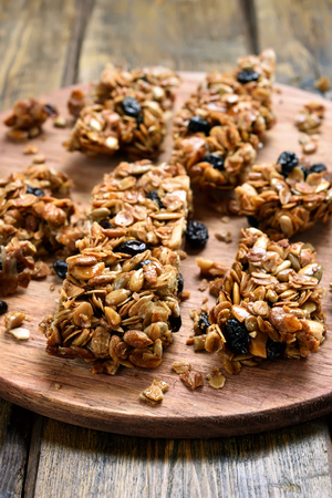background food: Granola pieces, close up view