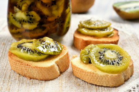 close up view: Sandwiches with canned kiwi, close up view