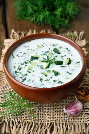 yoghurt: Summer yoghurt soup with cucumbers and dill