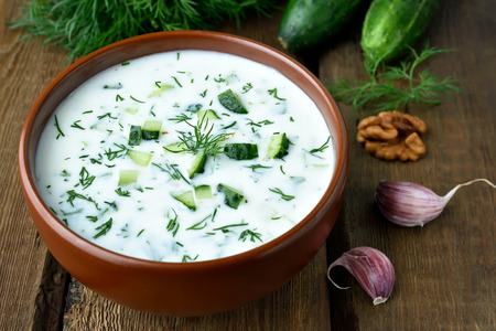 cold soup: Cold soup with yogurt, cucumbers and dill