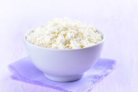 close up view: Curd in a bowl, close up view