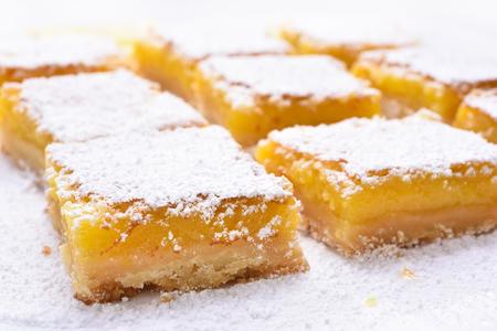 Fruit dessert lemon bars, close up view
