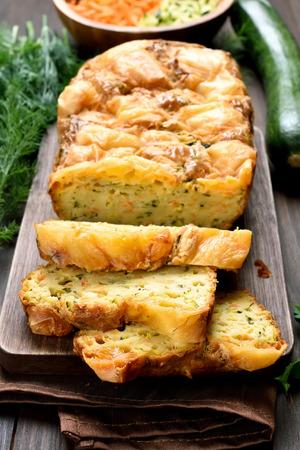 moist: Sliced vegetable moist bread with zucchini, carrot, cheese, eggs