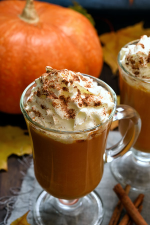 Pumpkin smoothie, latte with whipped cream and cinnamon