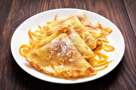 crepas: Crepes pancakes with orange sauce