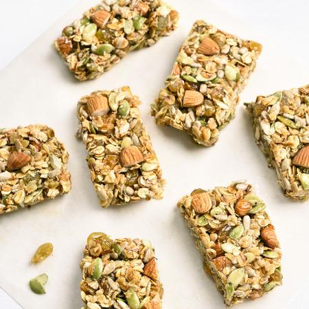 Healthy granola bar. Natural organic snack. Top view