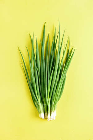 Fresh green onion on yellow background. Top view, flat lay