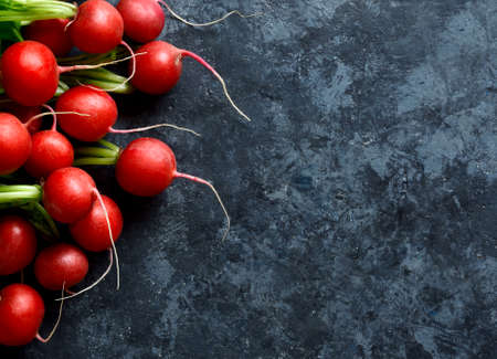 Radish bunch on blue stone background with free text space. Top view, flat lay