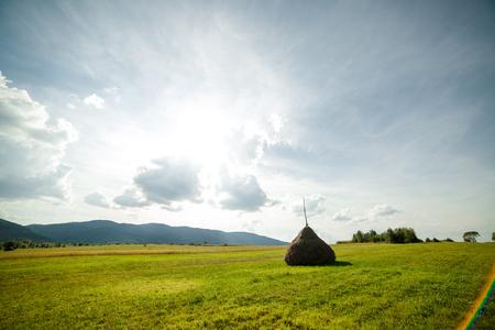 hayrick: Hay in stacks. Autumn rural a landscape. Stock Photo