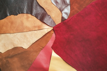 Pieces of colorful leather closeup.