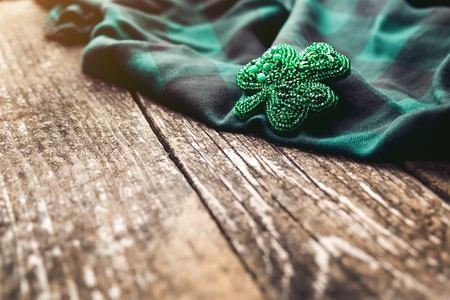 Beautiful brooch in the form of clover. Handmade beadwork jewerly.