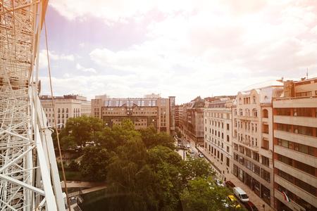 Beautiful view to Budapest city from Eye ferris wheel. Ferris wheel in Erzsebet park, Budapest city, Hungary Фото со стока