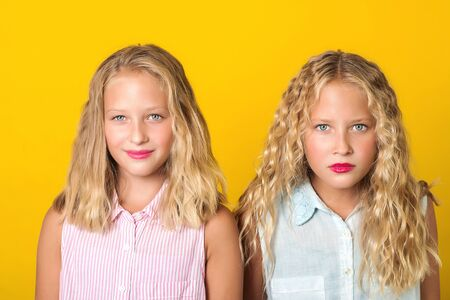 Emotional pretty teenage twins girls with blonde hair, amazing eyes and clean skin. People, emotions, teens and friendship concept. Cute sisters looking to camera on yellow background.