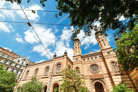 Beautiful great synagogue of Budapest, against sky background. Travel in Hungary. Summer vacation at Budapest city. Best tour in Europe