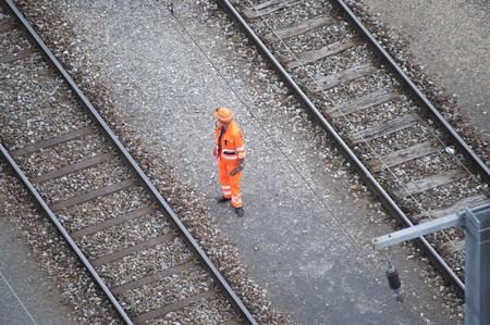 railway with man Stock Photo - 7520421