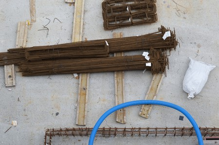 reinforcement on building site  photo