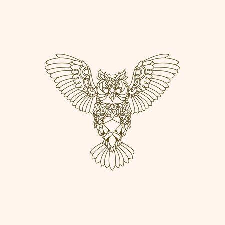 OWL MONO-LINE DESIGN LOGO Çizim