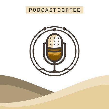 PODCAST COFFEE  イラスト・ベクター素材