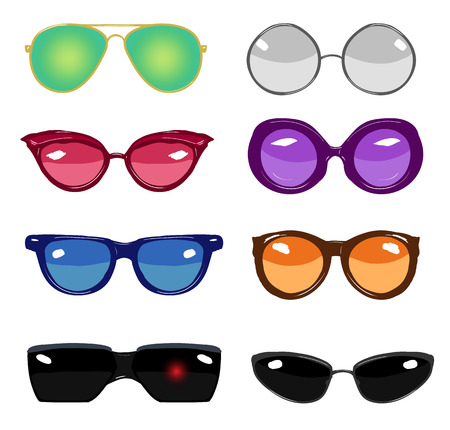cat's eye glasses: collection of colorful vector retro fashion glasses, set of cartoon comic glasses of different famous persons Illustration