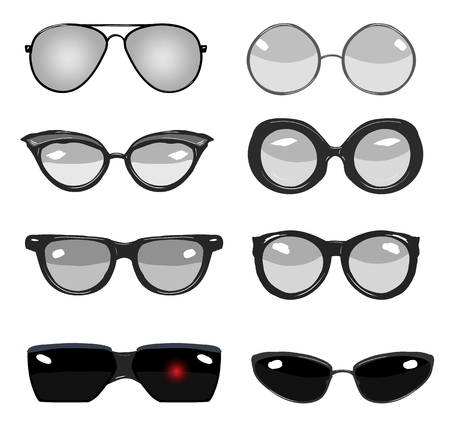 glasses: collection of black and white vector retro fashion glasses, set of cartoon comic glasses of different famous persons Illustration