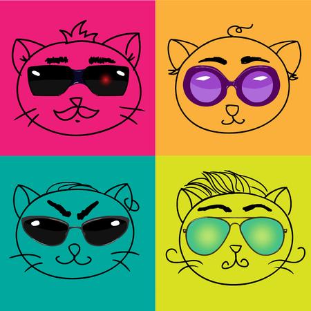 cat's eye glasses: set of cat outline retro faces in glasses