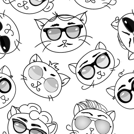Seamless pattern cute cats in modern glasses illustration 矢量图像