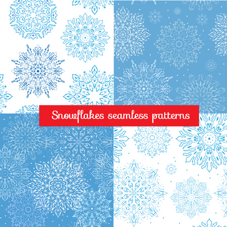 cold pack: Set of blue and white seamless patterns with beautiful snowflakes