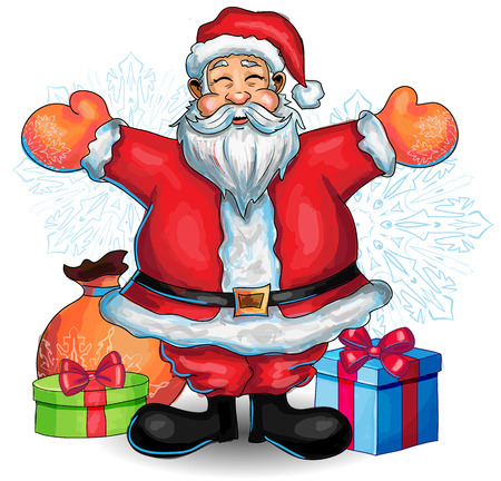 white bacjground: Happy Santa Clause hand drawn illustration with presents